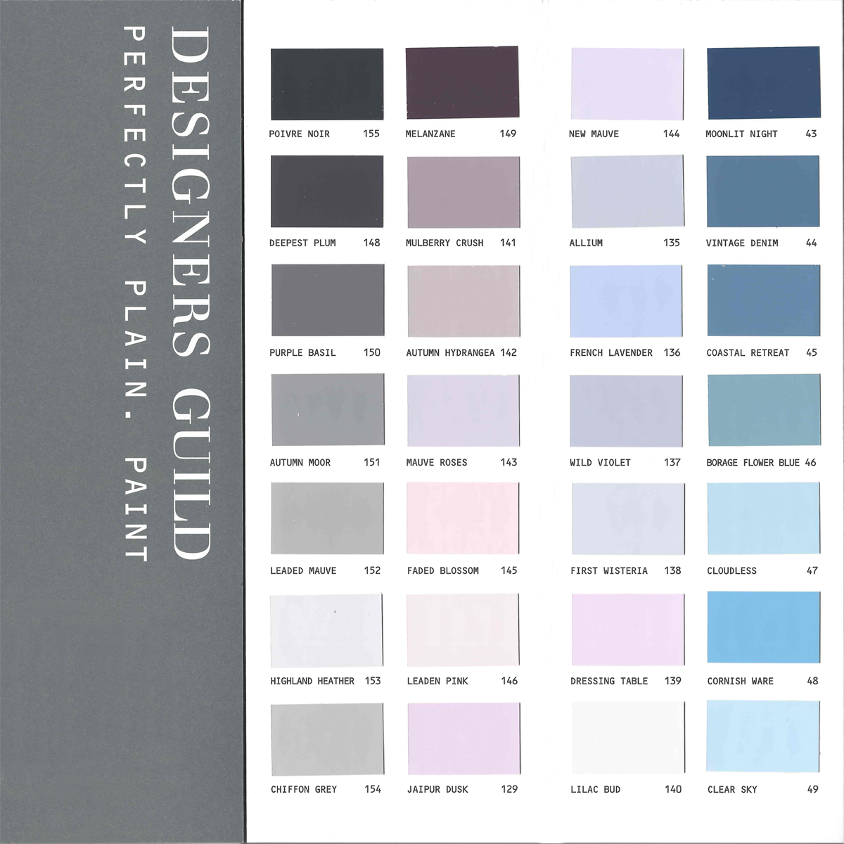 Farbkarte Designers Guild perfectly paint 154 Farben